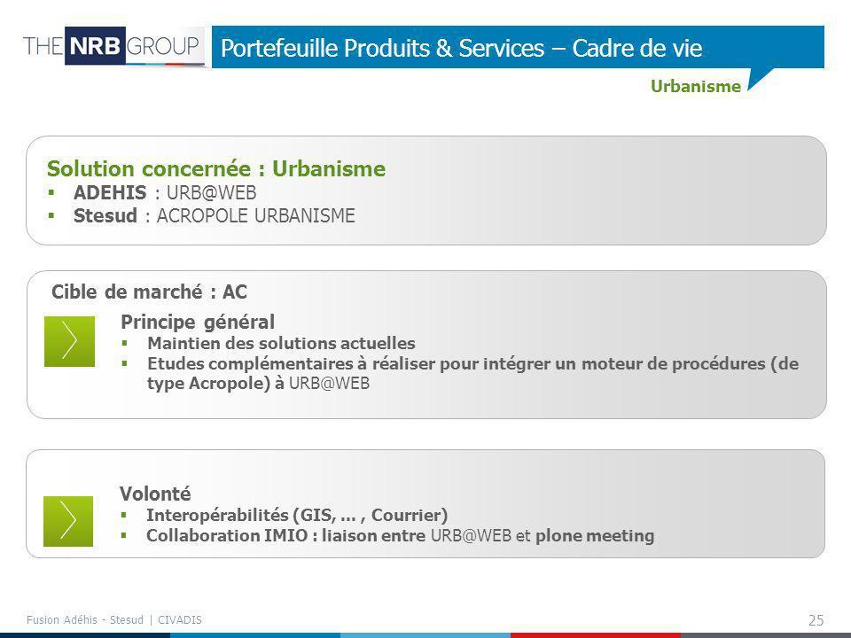 25 Portefeuille Produits & Services – Cadre de vie Cible de marché : AC Principe général Maintien des solutions actuelles Etudes complémentaires à réa