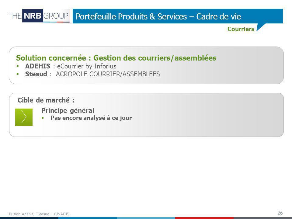 26 Fusion Adéhis - Stesud | CIVADIS Portefeuille Produits & Services – Cadre de vie Cible de marché : Principe général Pas encore analysé à ce jour So