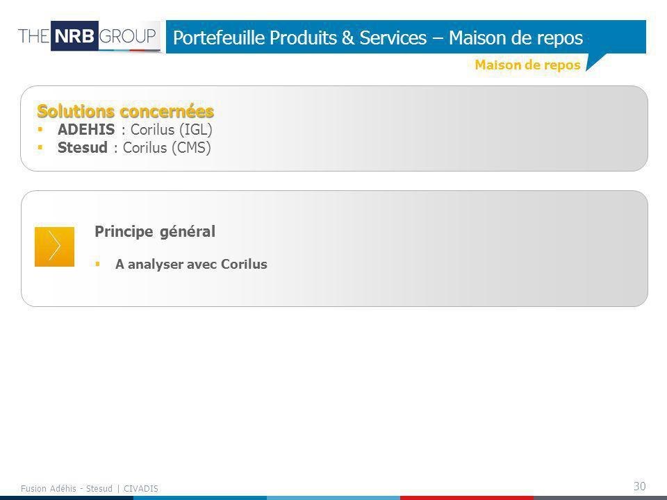 30 Fusion Adéhis - Stesud | CIVADIS Portefeuille Produits & Services – Maison de repos Principe général A analyser avec Corilus Solutions concernées A