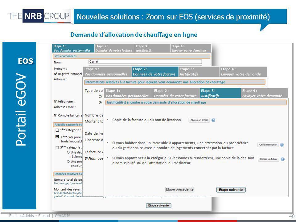 40 Nouvelles solutions : Zoom sur EOS (services de proximité) EOS Portail eGOV Demande dallocation de chauffage en ligne Fusion Adéhis - Stesud | CIVA