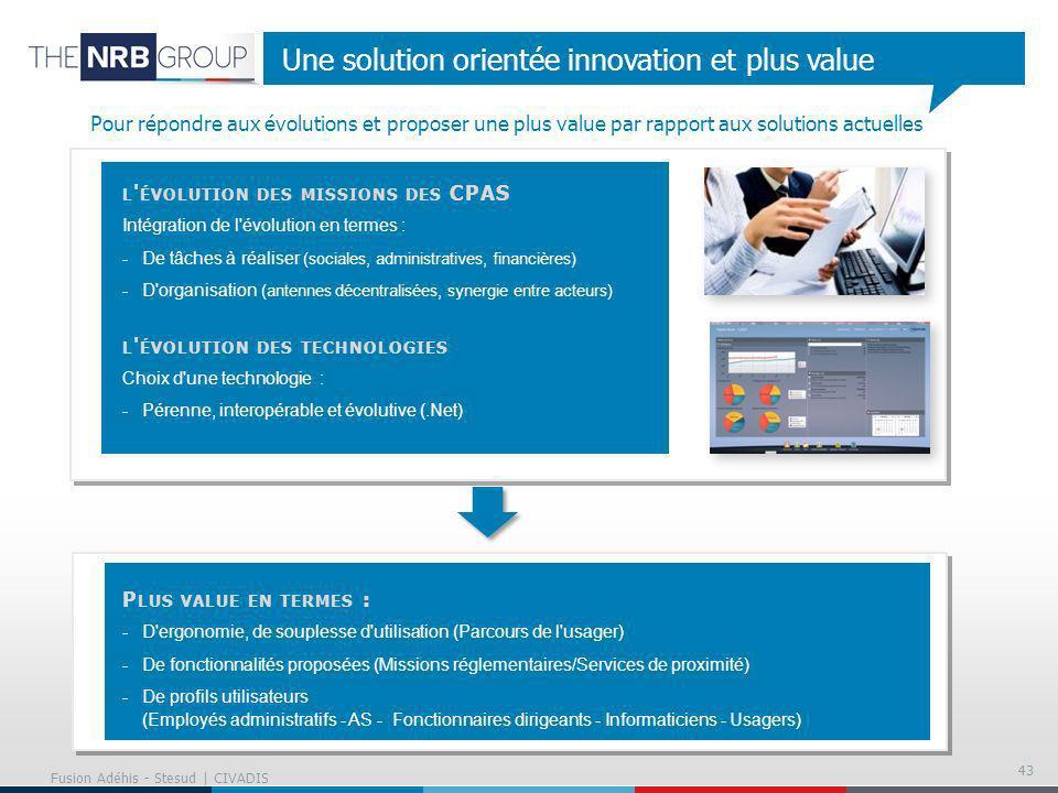 43 Une solution orientée innovation et plus value L ' ÉVOLUTION DES MISSIONS DES CPAS Intégration de l'évolution en termes : -De tâches à réaliser (so