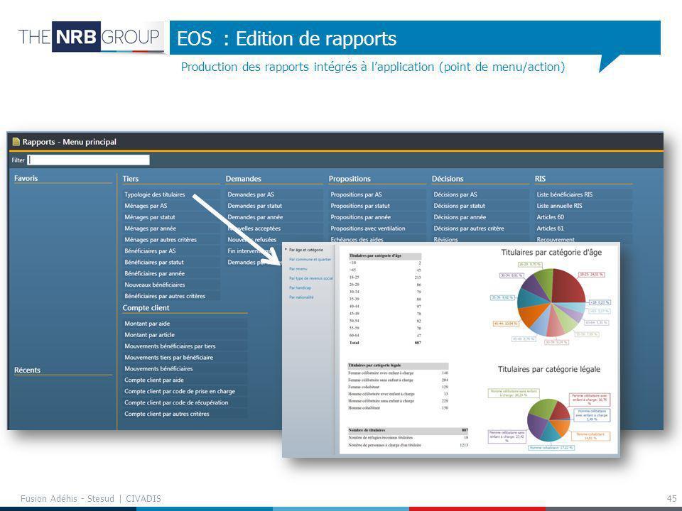 Production des rapports intégrés à lapplication (point de menu/action) EOS : Edition de rapports 45 Fusion Adéhis - Stesud | CIVADIS