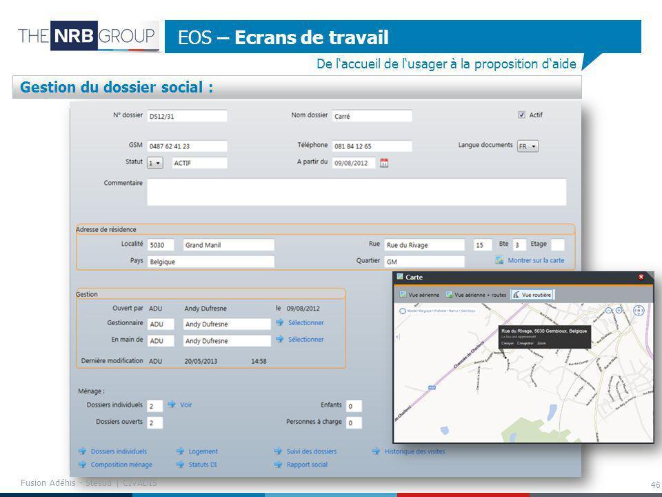 46 EOS – Ecrans de travail De laccueil de lusager à la proposition daide Gestion du dossier social : Fusion Adéhis - Stesud | CIVADIS