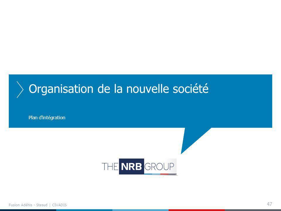 47 Organisation de la nouvelle société Plan d'intégration Fusion Adéhis - Stesud | CIVADIS