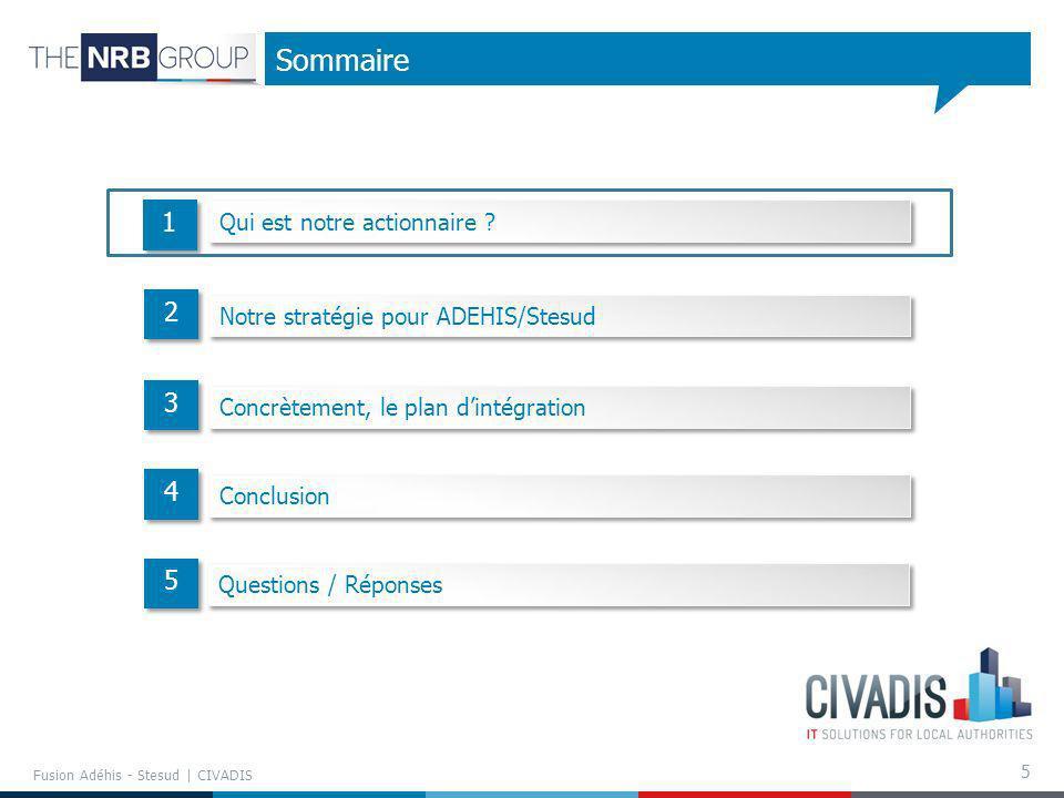5 Sommaire 1 1 2 2 3 3 4 4 Fusion Adéhis - Stesud | CIVADIS 5 5 Qui est notre actionnaire ? Notre stratégie pour ADEHIS/Stesud Concrètement, le plan d