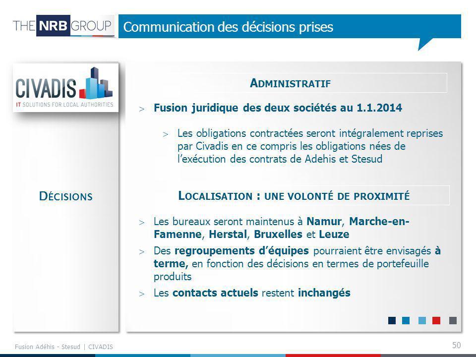 50 Communication des décisions prises Fusion Adéhis - Stesud | CIVADIS A DMINISTRATIF Fusion juridique des deux sociétés au 1.1.2014 Les obligations c