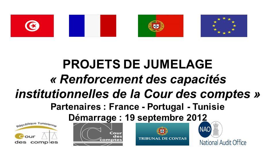 PROJETS DE JUMELAGE « Renforcement des capacités institutionnelles de la Cour des comptes » Partenaires : France - Portugal - Tunisie Démarrage : 19 s
