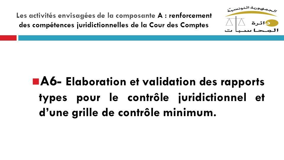 Les activités envisagées de la composante A : renforcement des compétences juridictionnelles de la Cour des Comptes A6- Elaboration et validation des