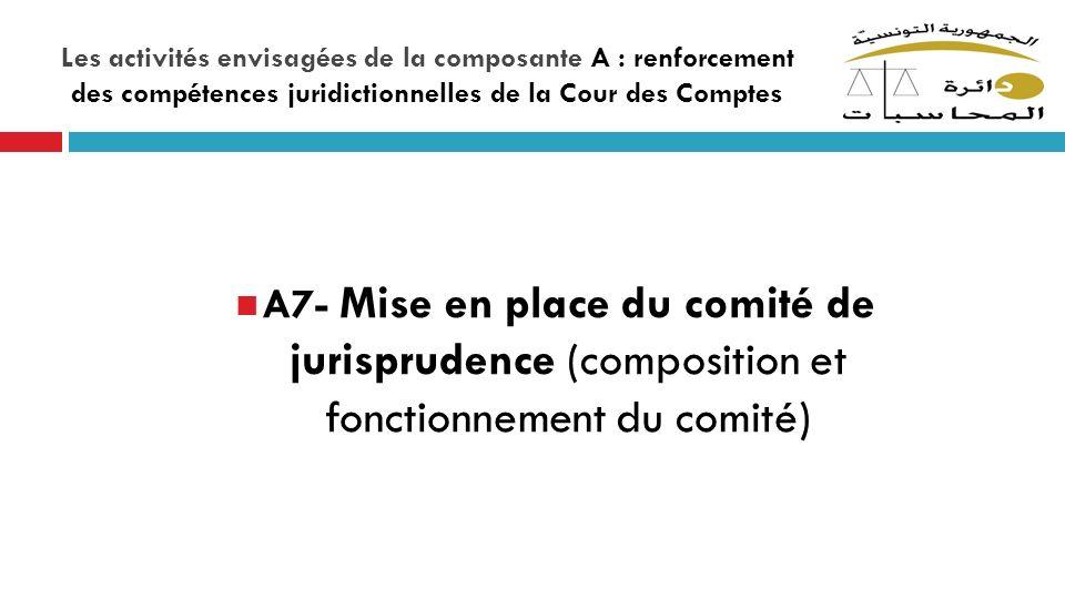 Les activités envisagées de la composante A : renforcement des compétences juridictionnelles de la Cour des Comptes A7- Mise en place du comité de jur