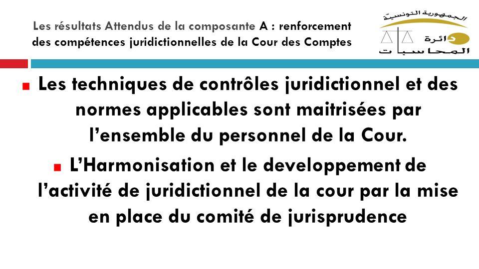 Les résultats Attendus de la composante A : renforcement des compétences juridictionnelles de la Cour des Comptes Les techniques de contrôles juridict