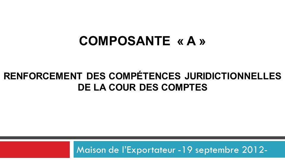 COMPOSANTE « A » RENFORCEMENT DES COMPÉTENCES JURIDICTIONNELLES DE LA COUR DES COMPTES Maison de lExportateur -19 septembre 2012-