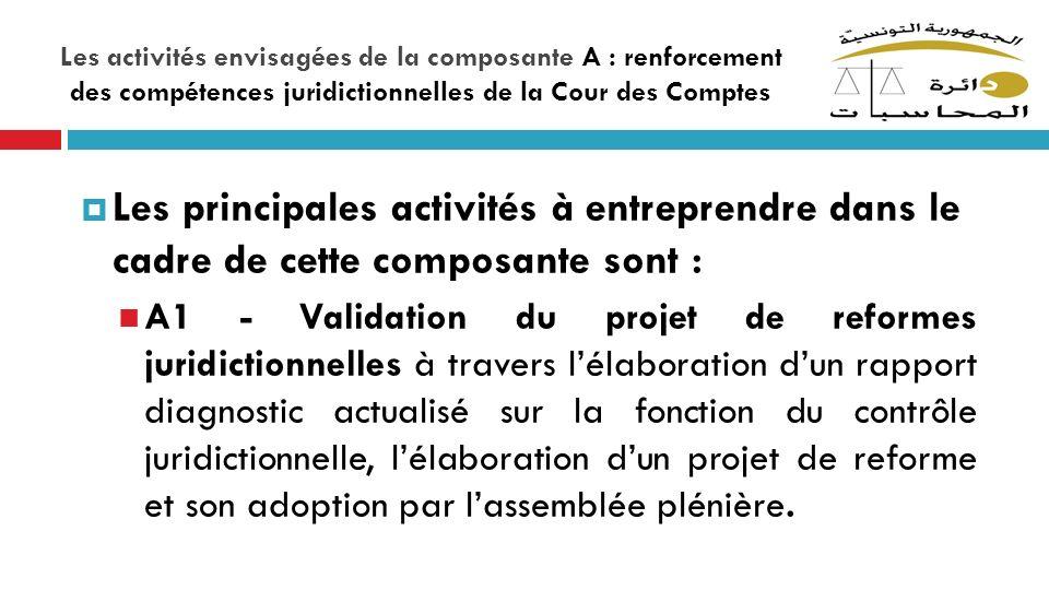 Les activités envisagées de la composante A : renforcement des compétences juridictionnelles de la Cour des Comptes Les principales activités à entrep