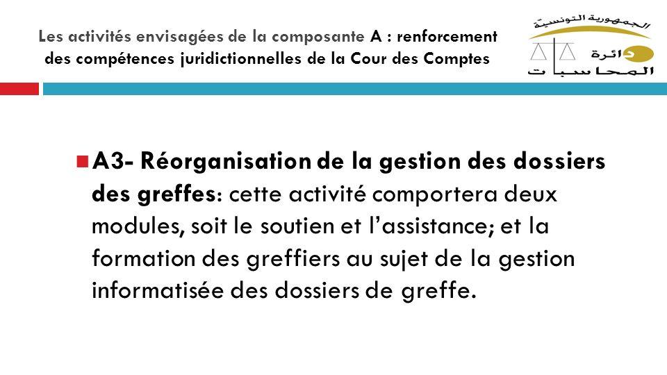 Les activités envisagées de la composante A : renforcement des compétences juridictionnelles de la Cour des Comptes A3- Réorganisation de la gestion d