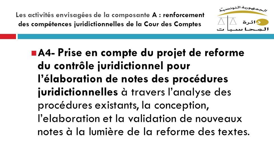 Les activités envisagées de la composante A : renforcement des compétences juridictionnelles de la Cour des Comptes A4- Prise en compte du projet de r