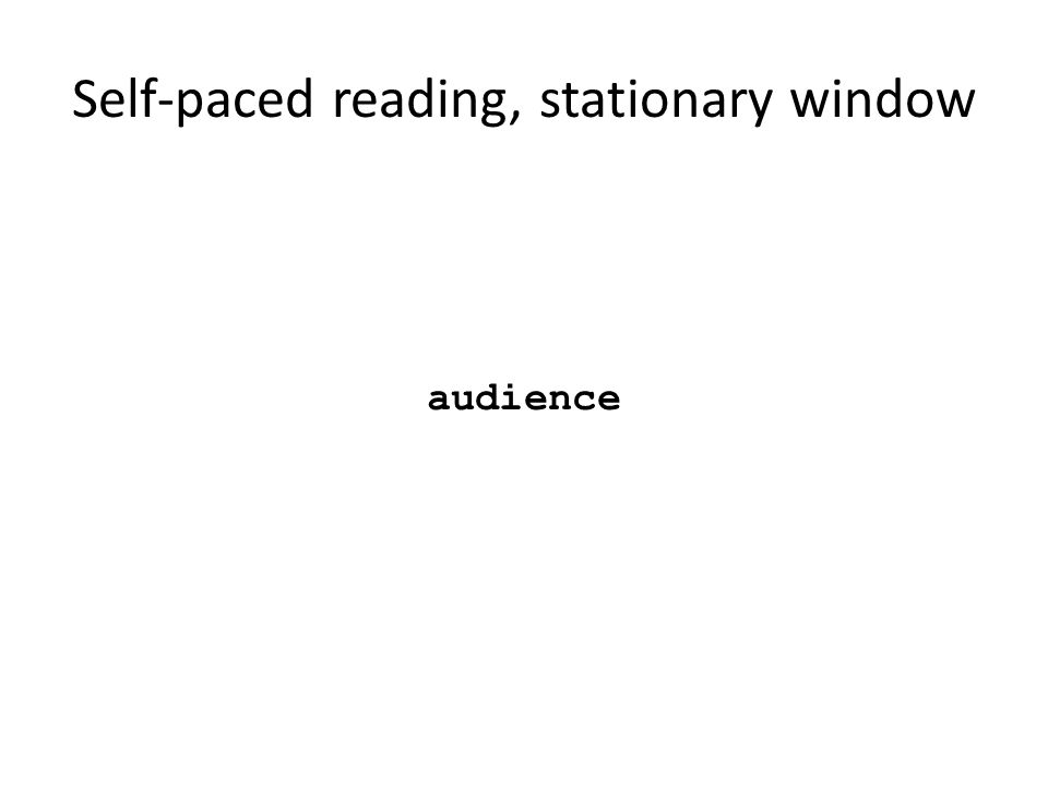 Self-paced reading, stationary window audience Segui, Hallé, Hemforth, 2008 Psycholinguistique: Compréhension 1