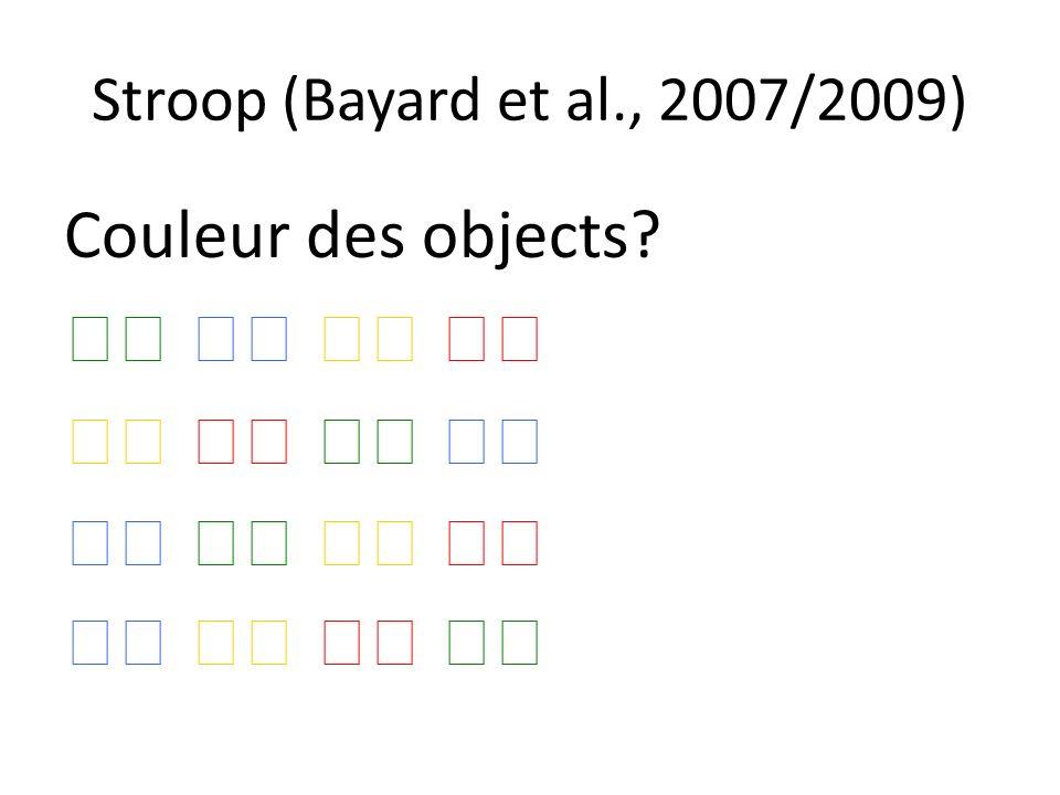 Stroop (Bayard et al., 2007/2009) Couleur des objects?