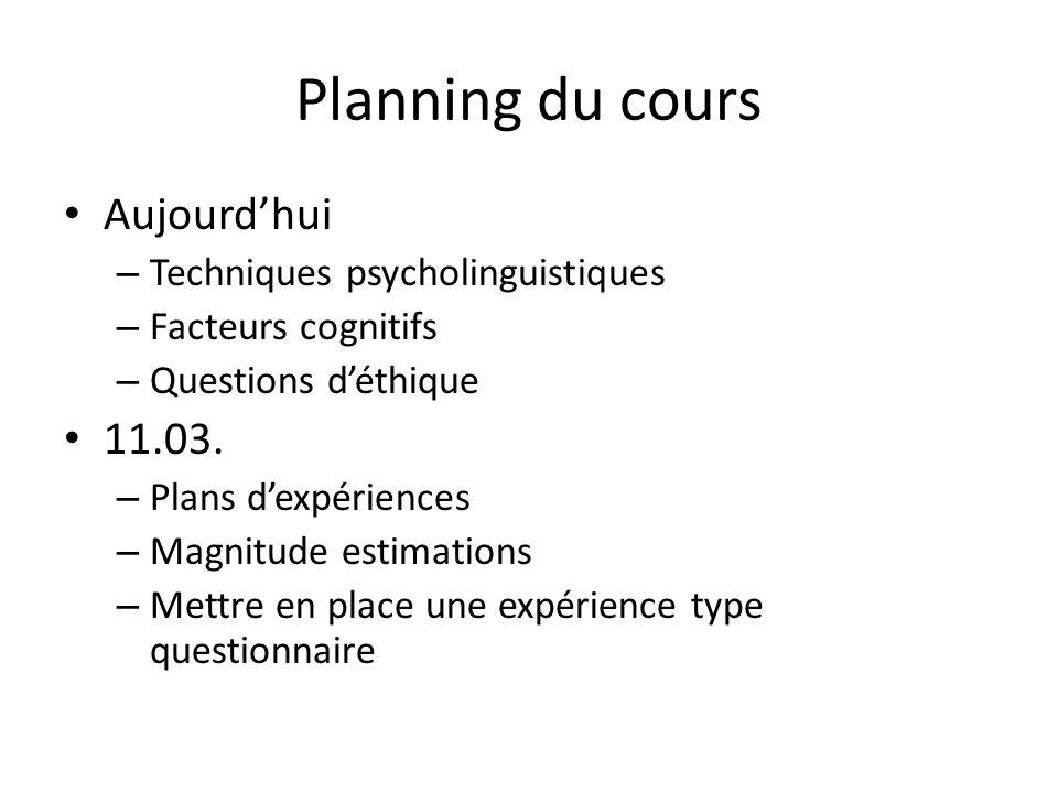 Planning du cours Aujourdhui – Techniques psycholinguistiques – Facteurs cognitifs – Questions déthique 11.03. – Plans dexpériences – Magnitude estima
