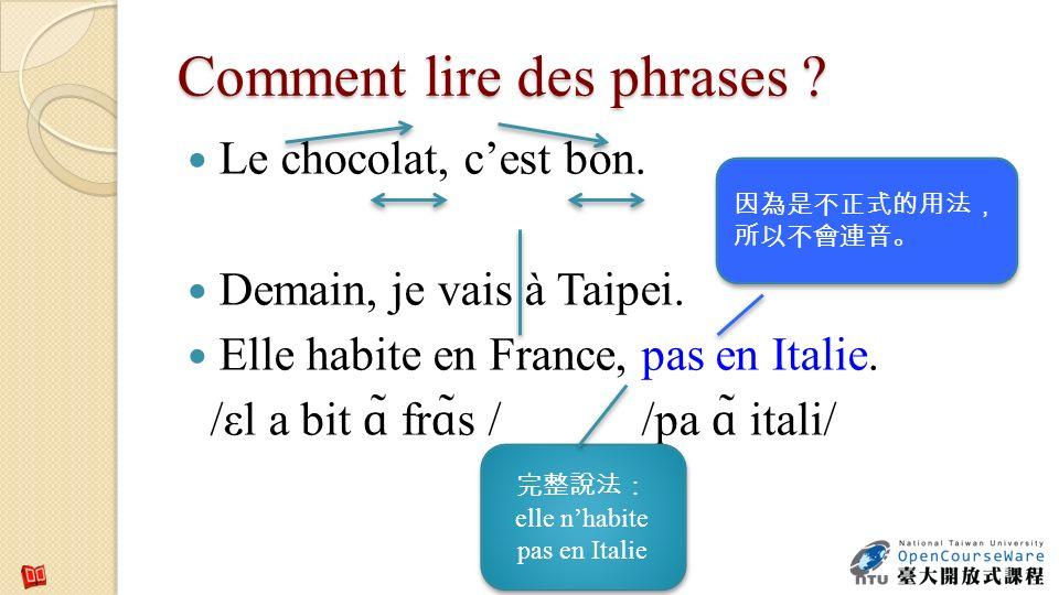 Comment lire des phrases ? Le chocolat, cest bon. Demain, je vais à Taipei. Elle habite en France, pas en Italie. /εl a bit ɑ ̃ fr ɑ ̃s / /pa ɑ ̃ ital