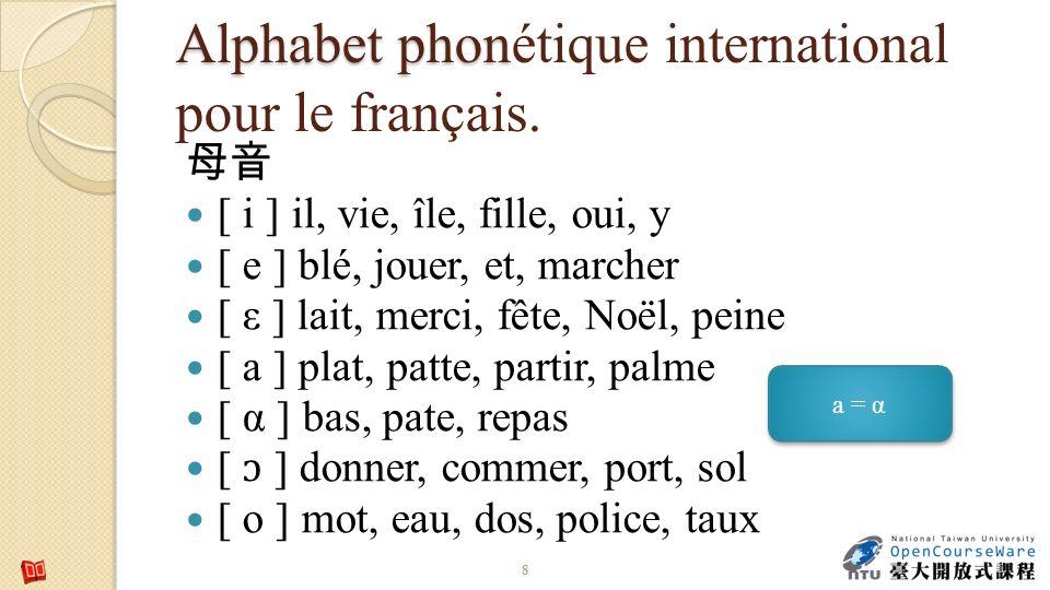 Alphabet phon Alphabet phonétique international pour le français. [ i ] il, vie, île, fille, oui, y [ e ] blé, jouer, et, marcher [ ε ] lait, merci, f