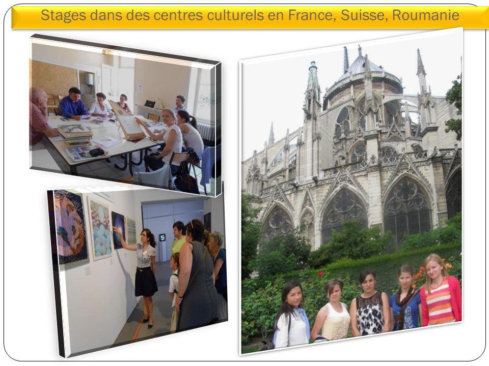 Stages dans des centres culturels en France, Suisse, Roumanie doctorat