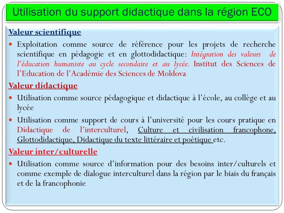 Utilisation du support didactique dans la région ECO Valeur scientifique Exploitation comme source de référence pour les projets de recherche scientif