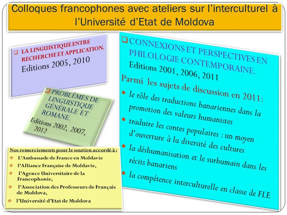 Colloques francophones avec ateliers sur linterculturel à lUniversité dEtat de Moldova