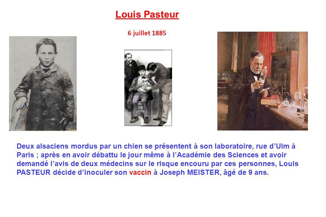 Deux alsaciens mordus par un chien se présentent à son laboratoire, rue dUlm à Paris ; après en avoir débattu le jour même à lAcadémie des Sciences et