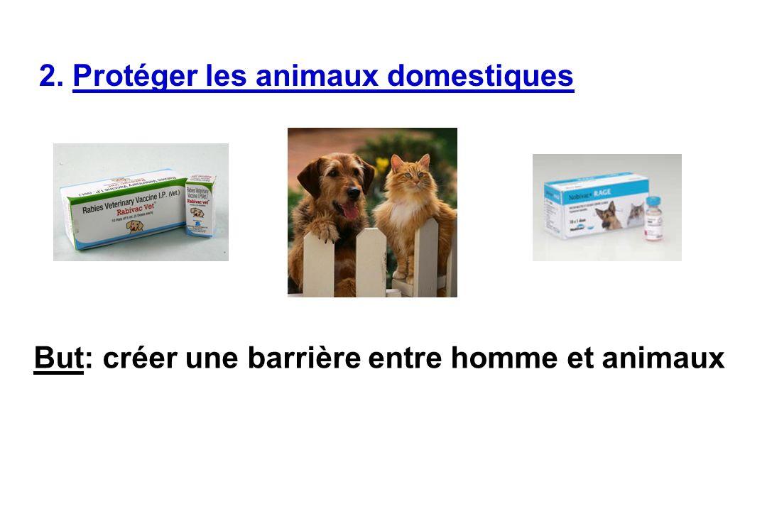 2. Protéger les animaux domestiques But: créer une barrière entre homme et animaux