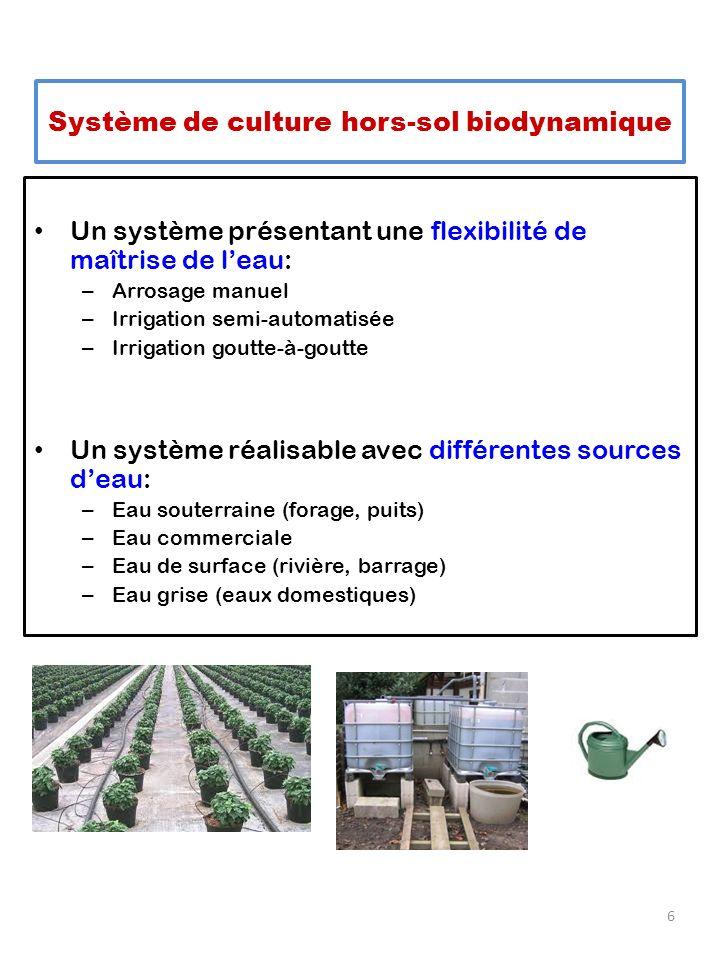 Un système présentant une flexibilité de maîtrise de leau: – Arrosage manuel – Irrigation semi-automatisée – Irrigation goutte-à-goutte Un système réalisable avec différentes sources deau: – Eau souterraine (forage, puits) – Eau commerciale – Eau de surface (rivière, barrage) – Eau grise (eaux domestiques) 6