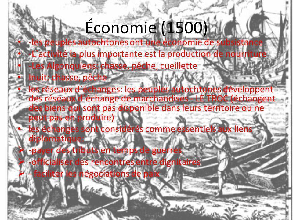 Économie (1500) -les peuples autochtones ont une économie de subsistance -L`activité la plus importante est la production de nourriture -Les Algonquie