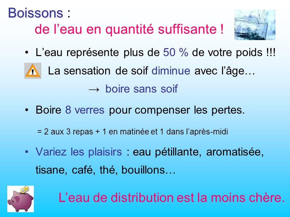 Boissons Boissons : de leau en quantité suffisante .