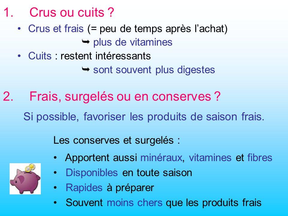 1.Crus ou cuits .