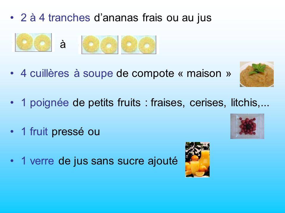 2 à 4 tranches dananas frais ou au jus à 4 cuillères à soupe de compote « maison » 1 poignée de petits fruits : fraises, cerises, litchis,...
