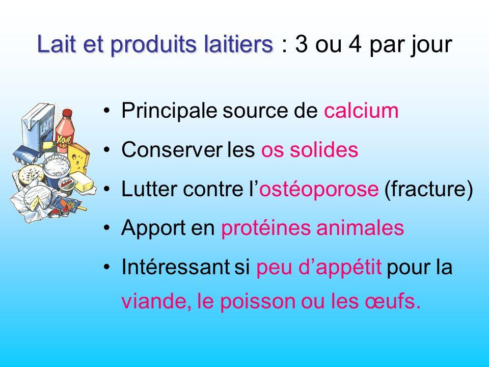 Lait et produits laitiers Lait et produits laitiers : 3 ou 4 par jour Principale source de calcium Conserver les os solides Lutter contre lostéoporose (fracture) Apport en protéines animales Intéressant si peu dappétit pour la viande, le poisson ou les œufs.