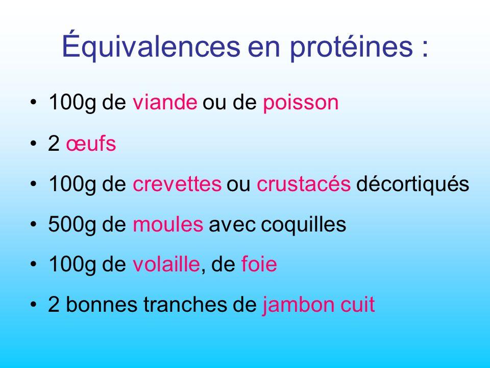 Équivalences en protéines : 100g de viande ou de poisson 2 œufs 100g de crevettes ou crustacés décortiqués 500g de moules avec coquilles 100g de volaille, de foie 2 bonnes tranches de jambon cuit