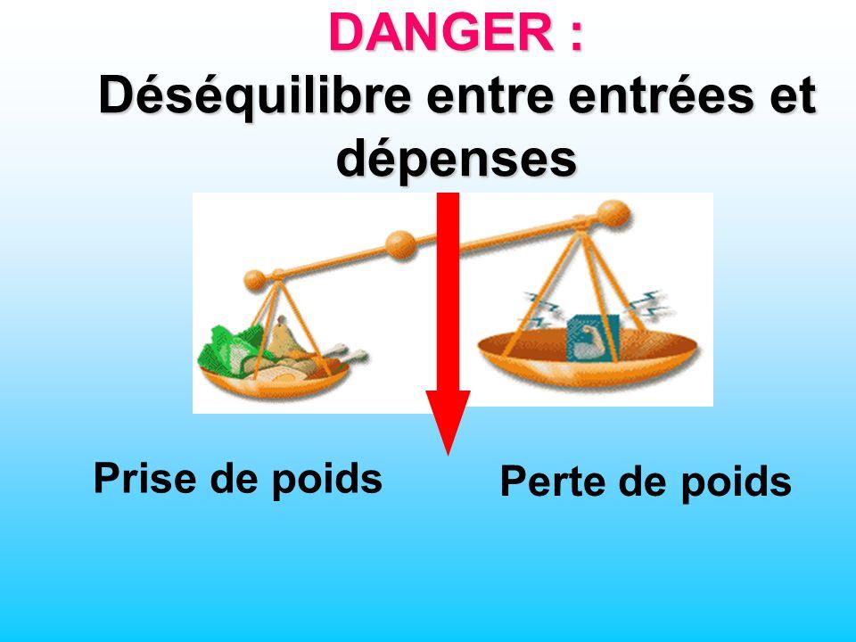 Entr é e d é nergie (alimentation) Perte de poids DANGER : Déséquilibre entre entrées et dépenses Prise de poids