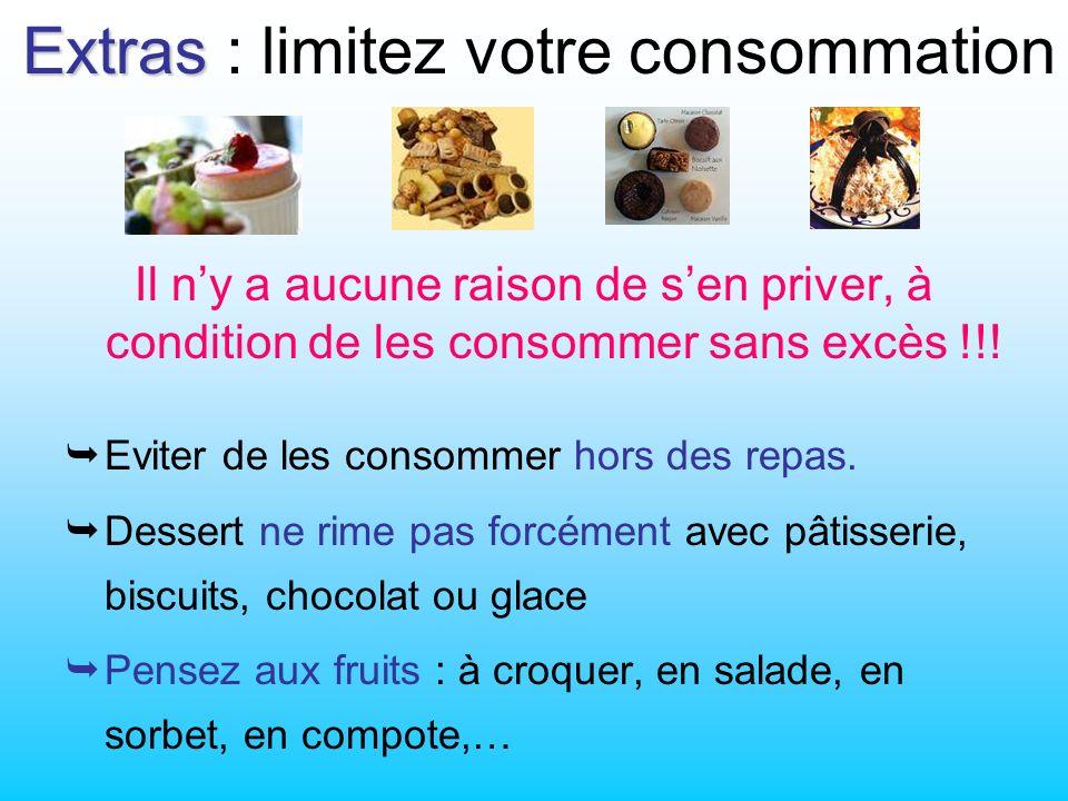 Extras Extras : limitez votre consommation Il ny a aucune raison de sen priver, à condition de les consommer sans excès !!.