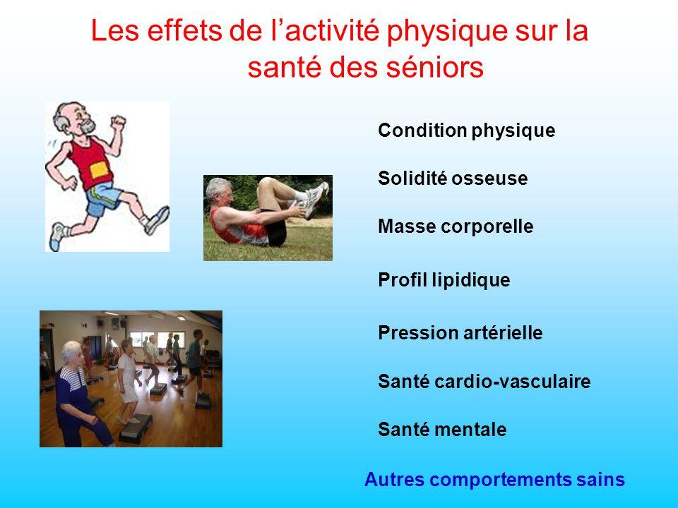 Condition physique Santé mentale Solidité osseuse Santé cardio-vasculaire Masse corporelle Profil lipidique Les effets de lactivité physique sur la santé des séniors Pression artérielle Autres comportements sains