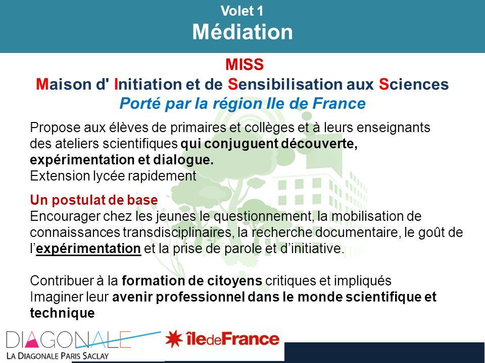 Volet 1 Médiation Volet 1 Médiation MISS Maison d' Initiation et de Sensibilisation aux Sciences Porté par la région Ile de France Propose aux élèves