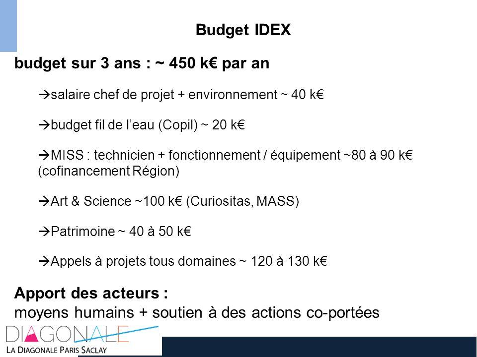 Budget IDEX budget sur 3 ans : ~ 450 k par an salaire chef de projet + environnement ~ 40 k budget fil de leau (Copil) ~ 20 k MISS : technicien + fonc