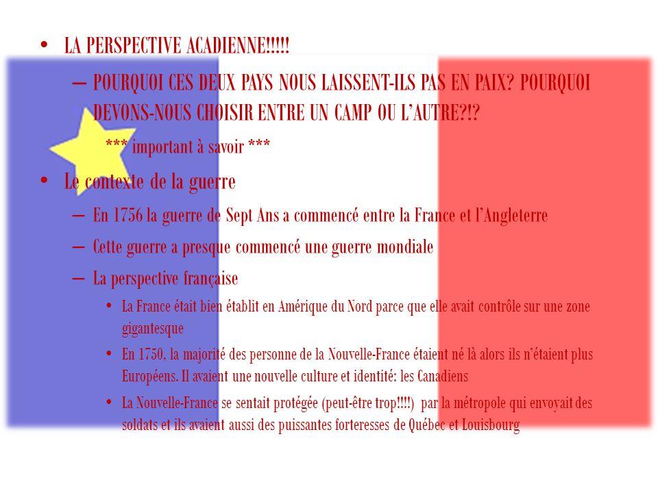 LA PERSPECTIVE ACADIENNE!!!!.– POURQUOI CES DEUX PAYS NOUS LAISSENT-ILS PAS EN PAIX.