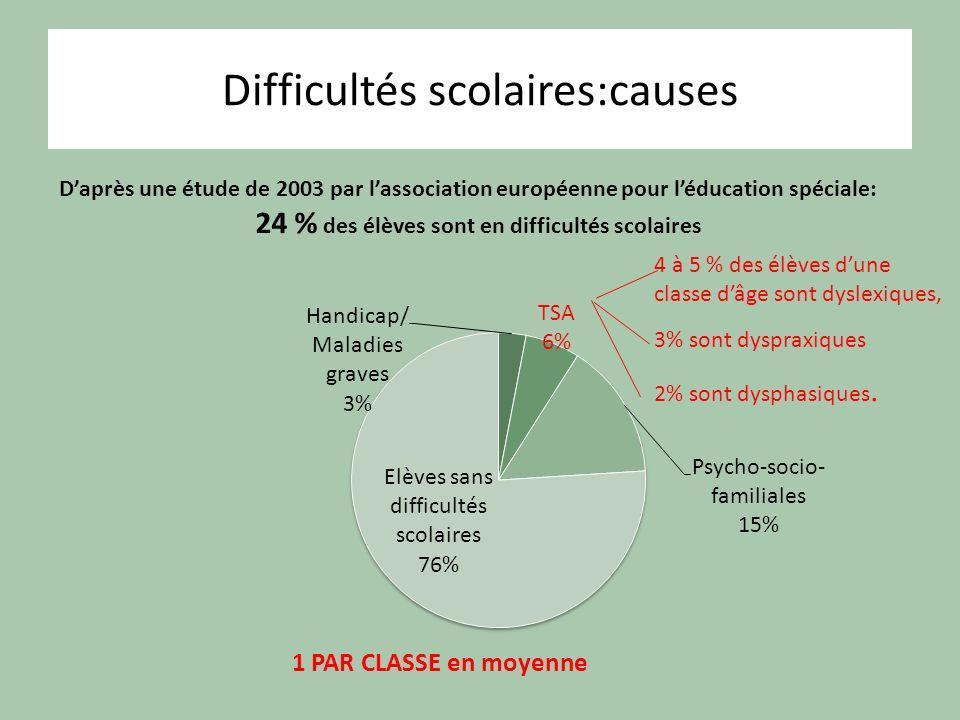 Difficultés scolaires:causes Daprès une étude de 2003 par lassociation européenne pour léducation spéciale: 24 % des élèves sont en difficultés scolai