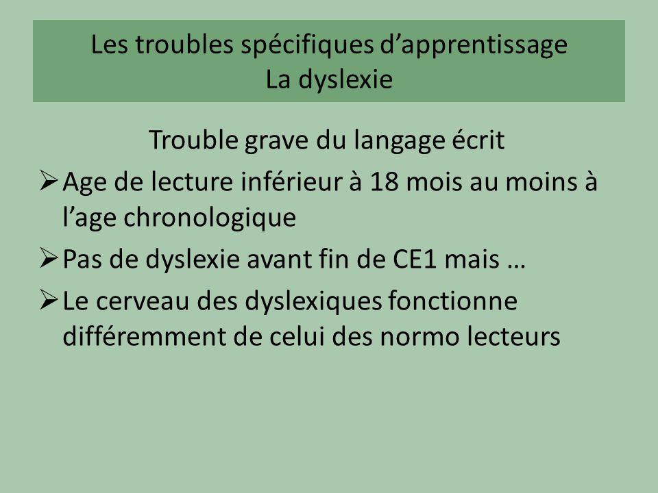 Les troubles spécifiques dapprentissage La dyslexie Trouble grave du langage écrit Age de lecture inférieur à 18 mois au moins à lage chronologique Pa