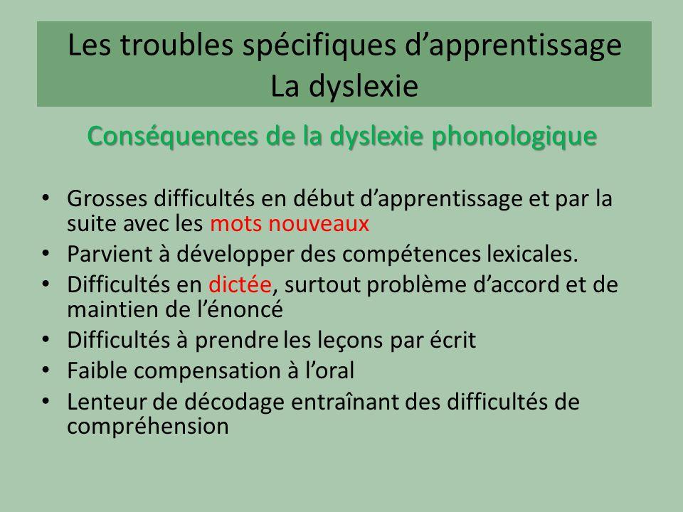Les troubles spécifiques dapprentissage La dyslexie Conséquences de la dyslexie phonologique Grosses difficultés en début dapprentissage et par la suite avec les mots nouveaux Parvient à développer des compétences lexicales.