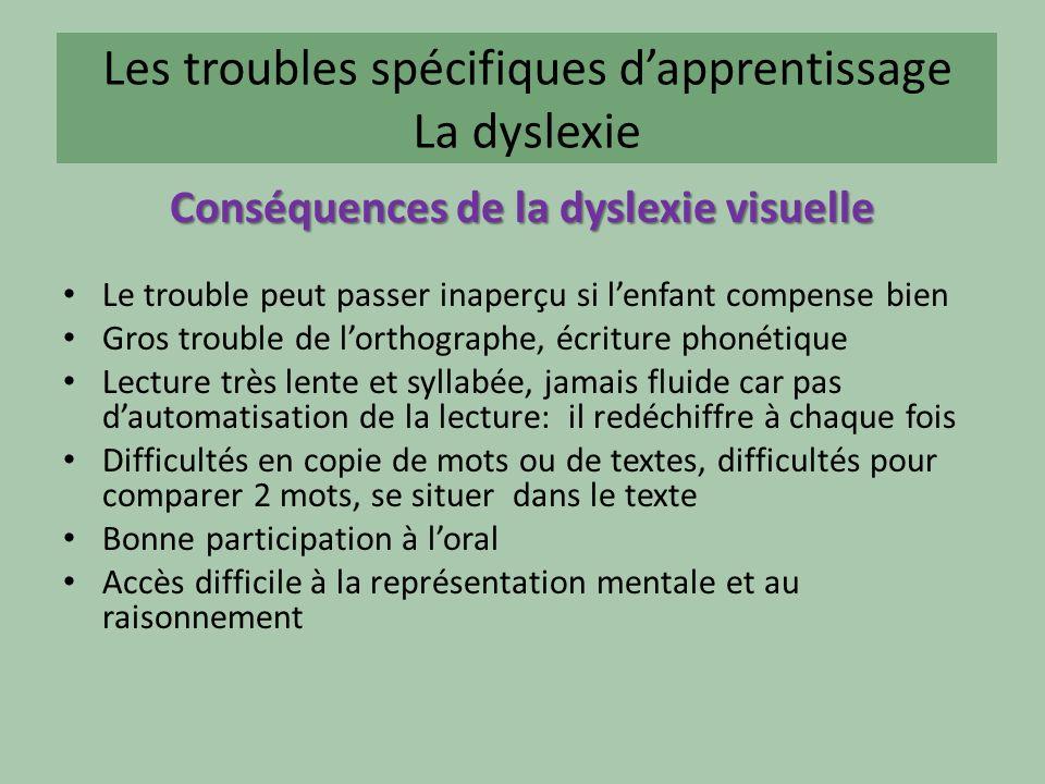 Les troubles spécifiques dapprentissage La dyslexie Conséquences de la dyslexie visuelle Le trouble peut passer inaperçu si lenfant compense bien Gros