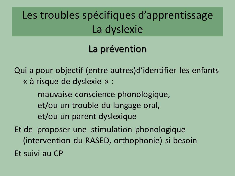 Les troubles spécifiques dapprentissage La dyslexie La prévention Qui a pour objectif (entre autres)didentifier les enfants « à risque de dyslexie » :
