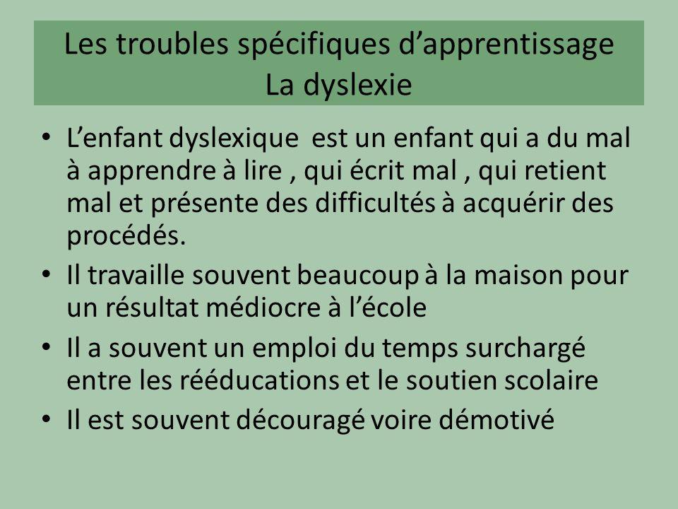 Les troubles spécifiques dapprentissage La dyslexie Lenfant dyslexique est un enfant qui a du mal à apprendre à lire, qui écrit mal, qui retient mal et présente des difficultés à acquérir des procédés.