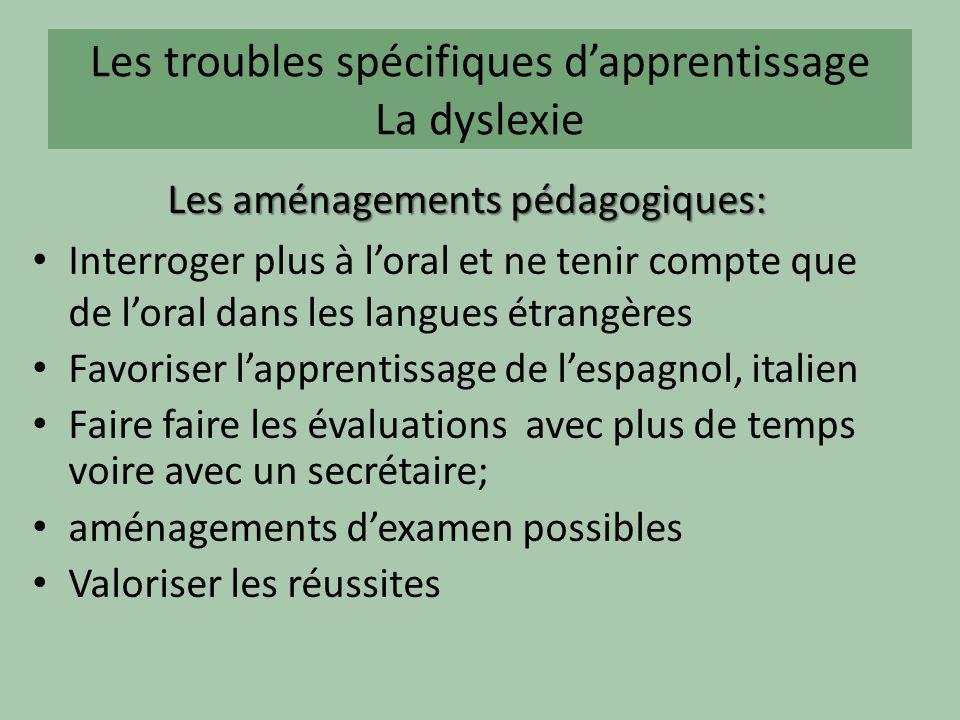 Les troubles spécifiques dapprentissage La dyslexie Les aménagements pédagogiques: Interroger plus à loral et ne tenir compte que de loral dans les la