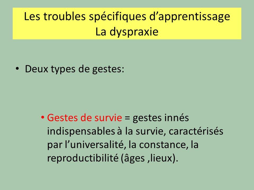 La dyspraxie Deux types de gestes: Gestes de survie = gestes innés indispensables à la survie, caractérisés par luniversalité, la constance, la reproductibilité (âges,lieux).