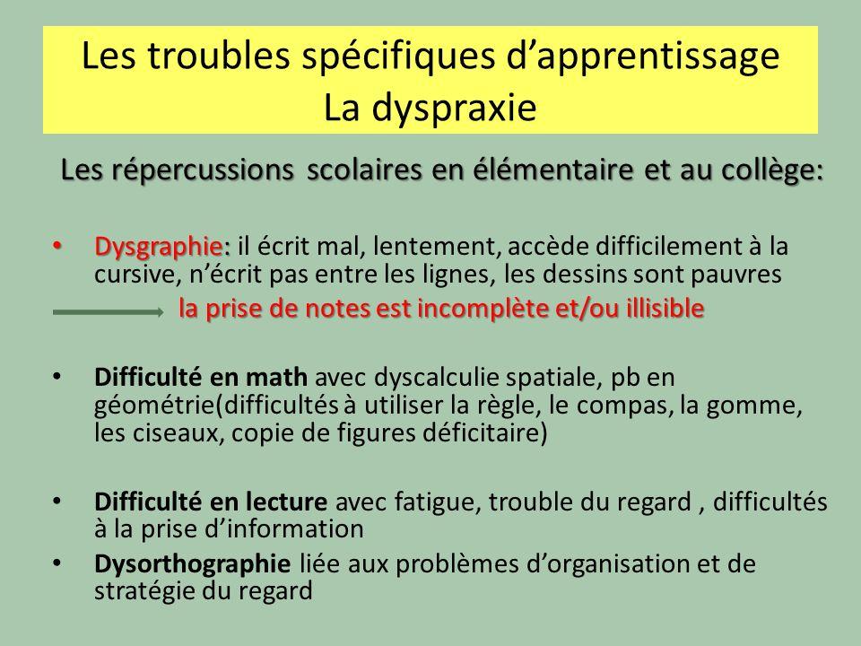 Les troubles spécifiques dapprentissage La dyspraxie Les répercussions scolaires en élémentaire et au collège: Dysgraphie: Dysgraphie: il écrit mal, l